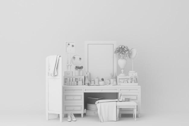 白いテーブル装飾3 dレンダリング