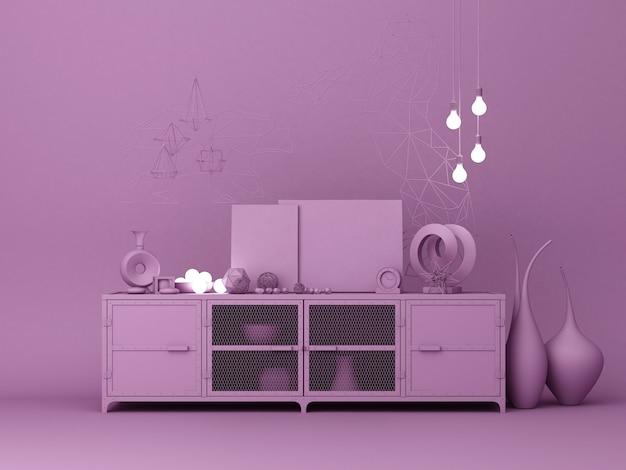 紫色のコンソール装飾3 dレンダリング