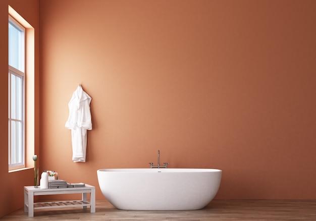 オレンジ色の壁3 dレンダリングとモダンなバスルームデザイン&ロフト