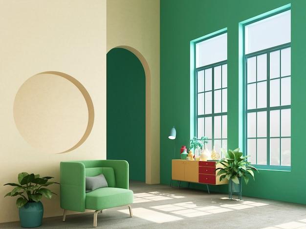 メンフィスのインテリアコンセプトデザインのコンソールと支柱の3 dレンダリングとカラフルなアームチェア
