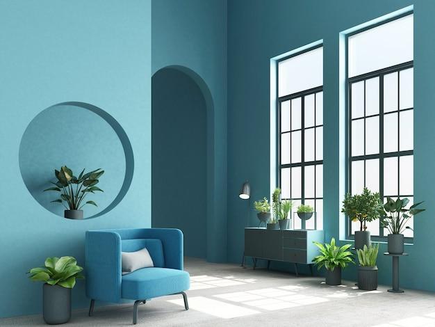 メンフィスのインテリアコンセプトデザインのコンソールと植物の3 dレンダリングとカラフルなアームチェア