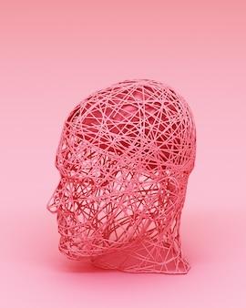 男性と彼の脳の3 dレンダリングのカラフルな抽象的な概念