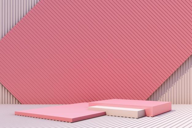 ピンクの金属シートの背景3 dレンダリングと製品スタンド