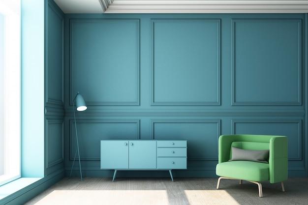 豪華な青い古典的な壁パネルと緑の家具付きのリビングルームの3 dレンダリング図