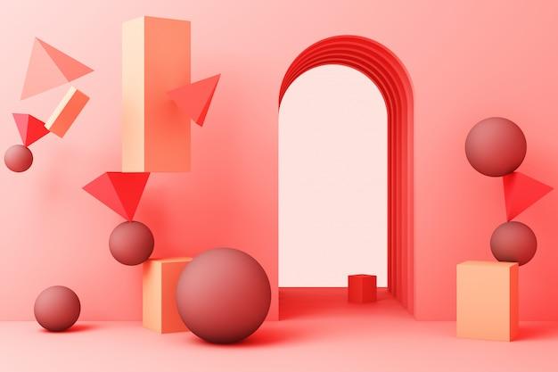 最小限の抽象的な背景抽象的な幾何学的形状グループセットピンクパステルカラー3 dレンダリング