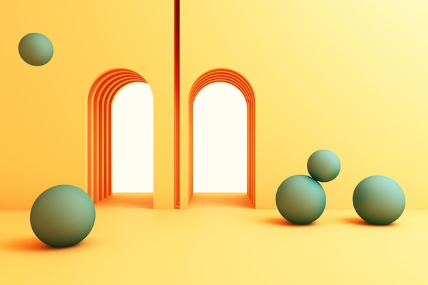 最小限の抽象的な背景抽象的な幾何学的図形グループセットイエローカラー3 dレンダリング