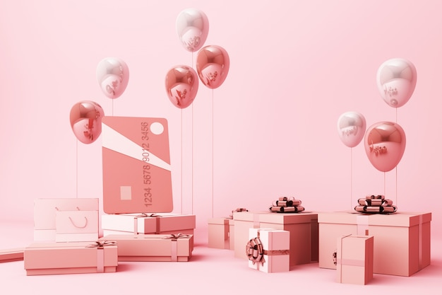 たくさんのギフトボックスと風船の3 dレンダリングで囲まれたピンクのクレジットカード
