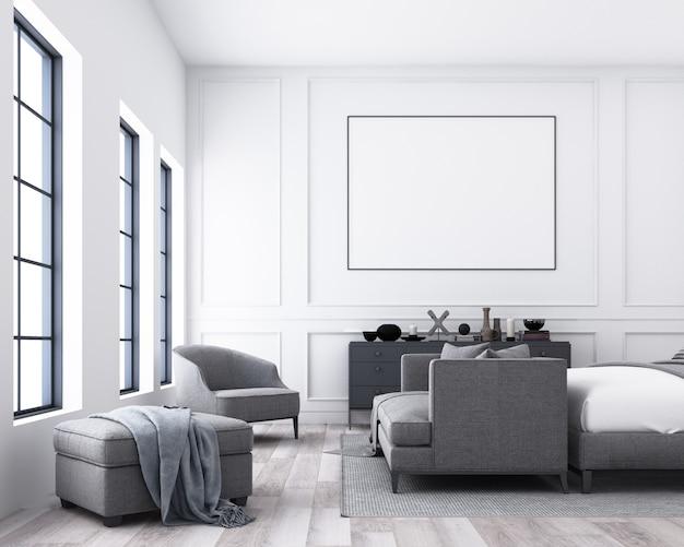 古典的な壁の装飾と灰色の家具3 dレンダリングとモダンで豪華なベッドルーム