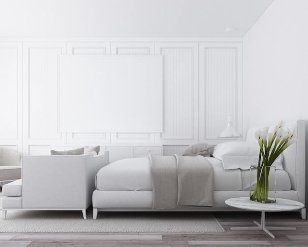古典的な壁の装飾と白い家具3 dレンダリングとモダンで豪華なベッドルーム