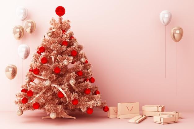 メリークリスマス3 dレンダリングの装飾とギフトボックスとクリスマスツリーとピンクゴールドバルーン