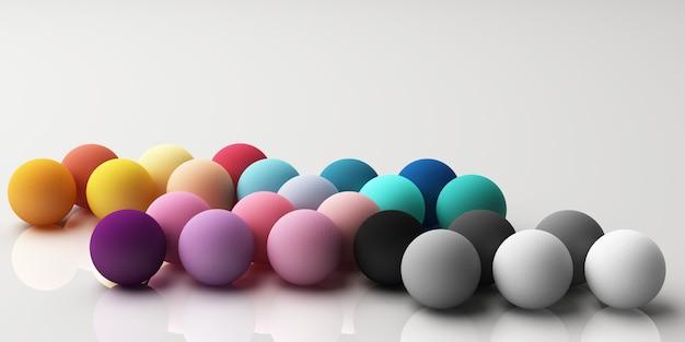 白い3 dレンダリングの生地の質感とカラフルな現実的な球のセット