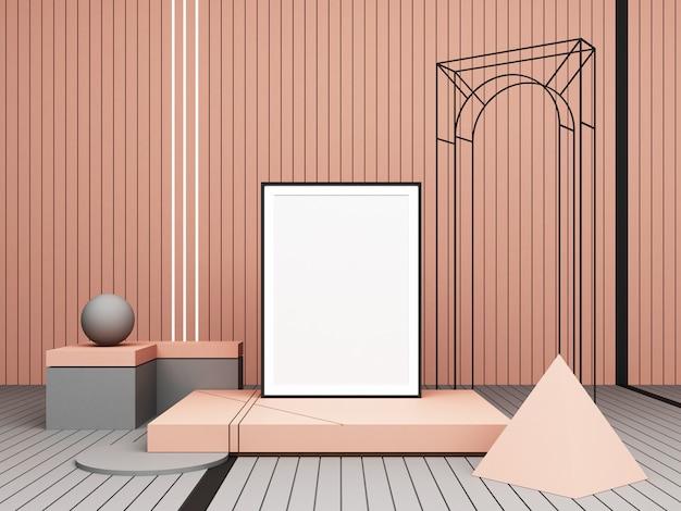 3 dレンダリングの抽象的な構成プレゼンテーションのためのピンクの背景にパステルカラーの幾何学的図形