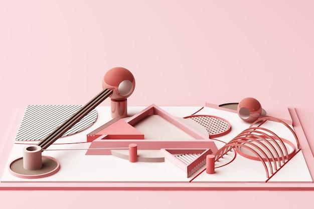 パステルピンクのトーン3 dレンダリングで幾何学的なメンフィススタイル図形の構成をデザインします。
