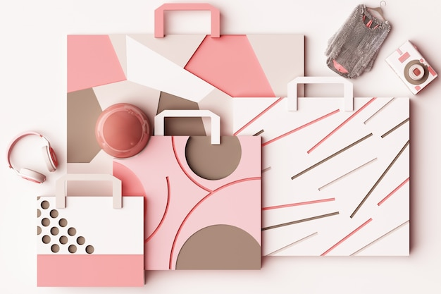 パステルピンクのトーン3 dの幾何学的なメンフィススタイル図形によるショッピングバッグの組成とデザイン
