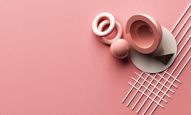 幾何学的形状の抽象的な構成と3 dレンダリングピンク