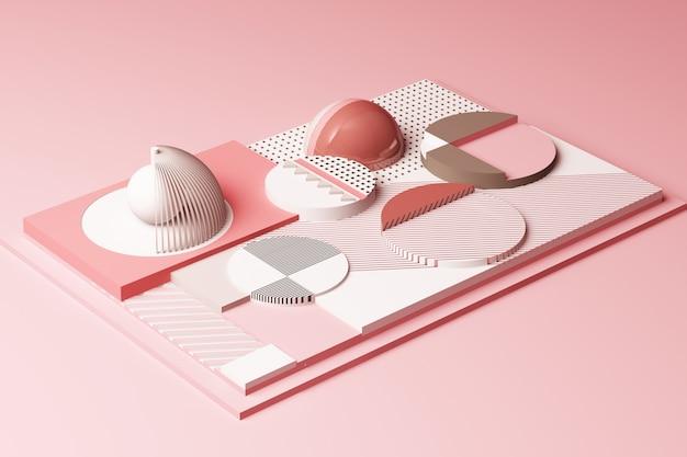 パステルピンクのトーン3 dレンダリング図の幾何学的図形の構成を使用したデザイン