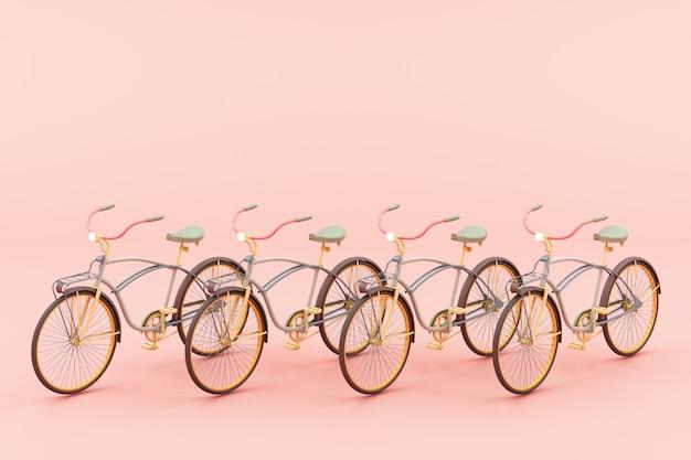 ピンクのトーンコンセプト3 dレンダリングでビンテージ自転車