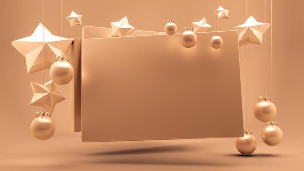 星の飾りが付いた空の紙の3 dレンダリング