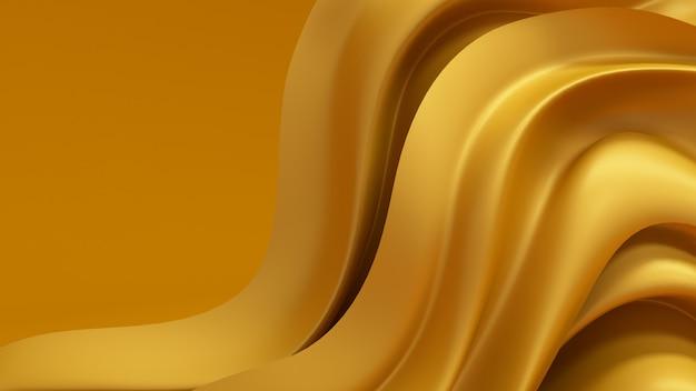 金のカーテン生地と3 dレンダリングの豪華な背景