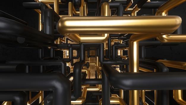 金と黒の迷路アニメーションが内部にある3 dレンダリングキューブ