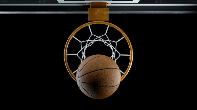3 dレンダリングバスケットボールは黒の背景にバスケットを打つ