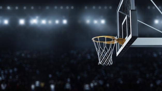 3 dレンダリングバスケットボールがバスケットを打つ