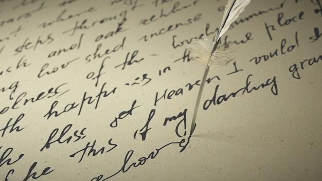 3 dレンダリングインクペンは古い紙に詩を書き込みます