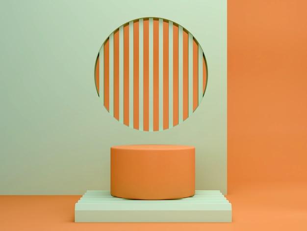 幾何学的形態を持つ抽象的な最小限のシーン。緑とオレンジ色のシリンダー表彰台。抽象的な背景。化粧品を紹介するシーン。ショーケース、店頭、ショーケース。 3 dのレンダリング。