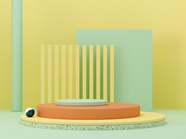 幾何学的形態を持つ抽象的な最小限のシーン。黄色、緑、オレンジ色のシリンダー表彰台。抽象的な背景。化粧品を紹介するシーン。ショーケース、店頭、ショーケース。 3 dのレンダリング。