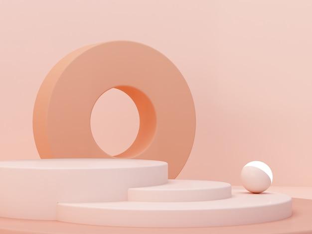 パステルカラーの抽象的な背景のクリーム色の図形。最小限のシリンダー表彰台。幾何学的な形のシーン。化粧品のプレゼンテーションのための空のショーケース。ファッション誌。 3 dのレンダリング。