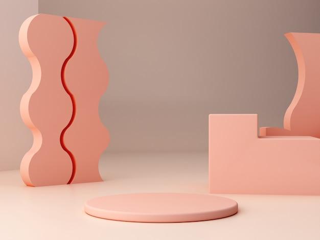 幾何学的形態を持つ抽象的な最小限のシーン。クリーム色の円柱演壇と階段。抽象的な背景。化粧品を紹介するシーン。ショーケース、店頭、ショーケース。 3 dのレンダリング。