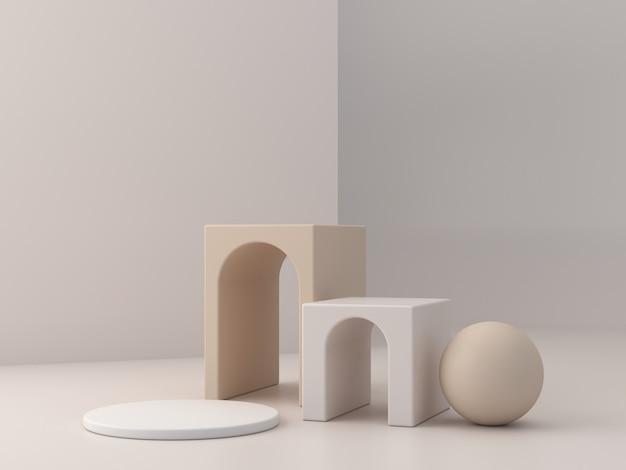 幾何学的形態を持つ抽象的な最小限のシーン。クリーム色のアーチが付いたボックス表彰台。抽象的な背景。化粧品やジュエリーを紹介するシーン。ショーケース、店頭、ショーケース。 3 dのレンダリング。