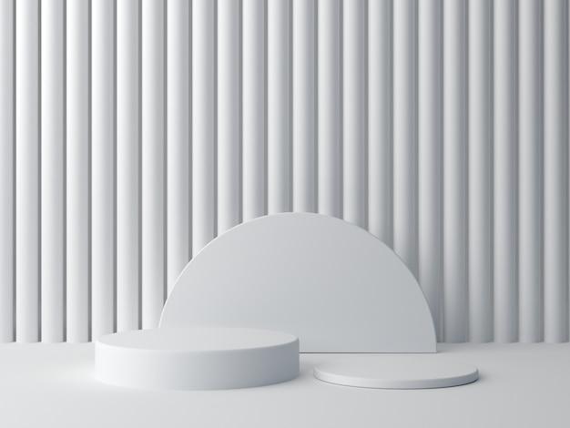 3 dレンダリング。白の抽象的な背景に白の図形。最小シリンダー表彰台。