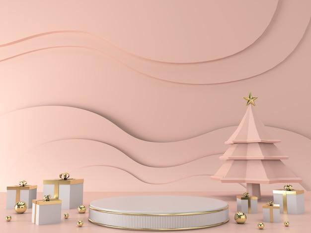 抽象的な幾何学的形状のクリスマスツリーシーンコンセプト装飾3 dレンダリング