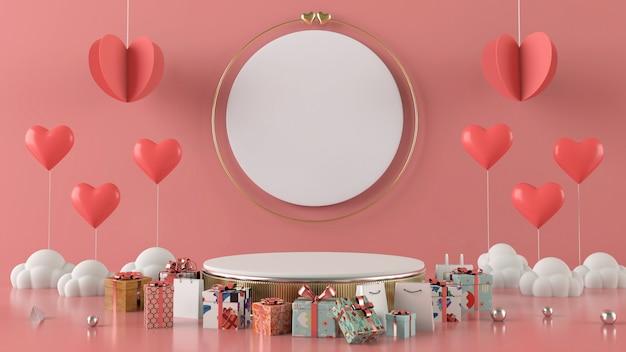 ギフトボックスハートフローティングカード背景愛バレンタインコンセプト3 dレンダリング