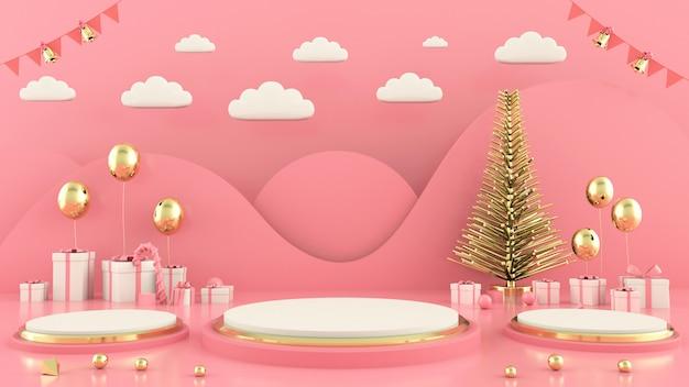 幾何学的形状のクリスマスツリーシーンコンセプト装飾3 dレンダリング