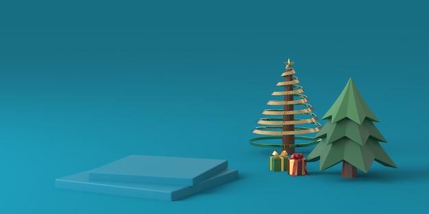 青い背景の表彰台と3 dレンダリングのクリスマスツリー