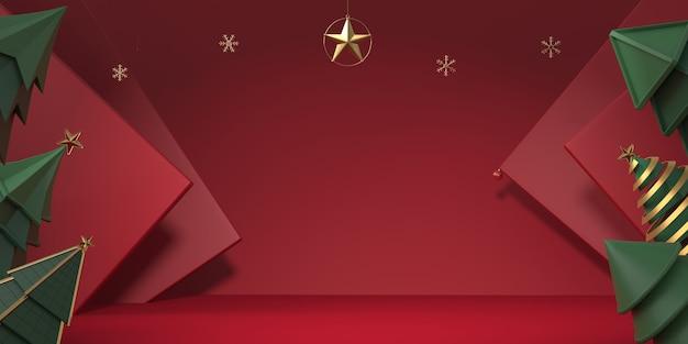 赤い背景の3 dレンダリングクリスマスツリー