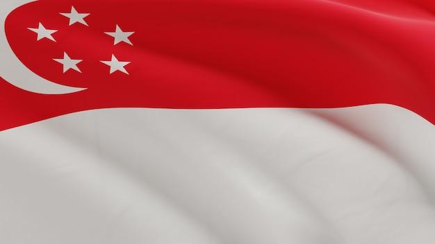 風になびかせてシンガポールの旗、品質の3 dレンダリングでファブリックのマイクロテクスチャ