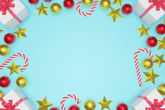 トップビュークリスマスと新年の青い空を背景にコピースペースフレーム、3 dレンダリング。
