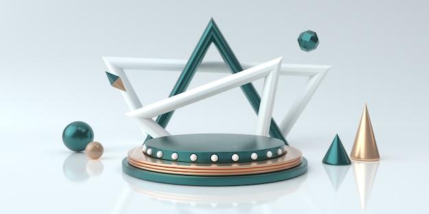 製品の表彰台と白いスタジオを抽象化し、3 dのレンダリングを表示