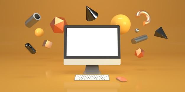 コンピューターと幾何学図形の3 dレンダリングと最小限の構成