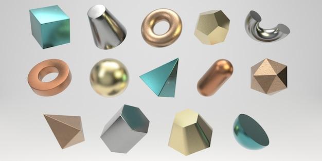 3 d金属の幾何学的図形セット