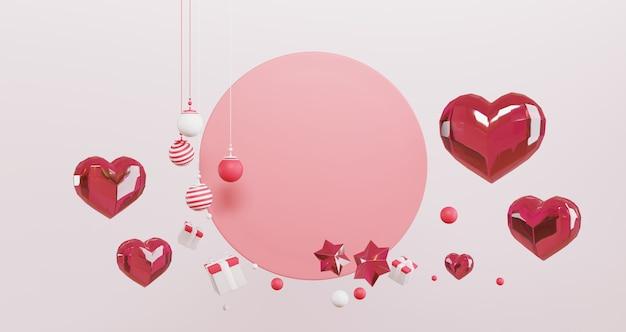 バレンタインの3 dレンダリング。赤いクリスタルハート、ギフトボックス、ピンクの円の背景に浮かぶ星のセット