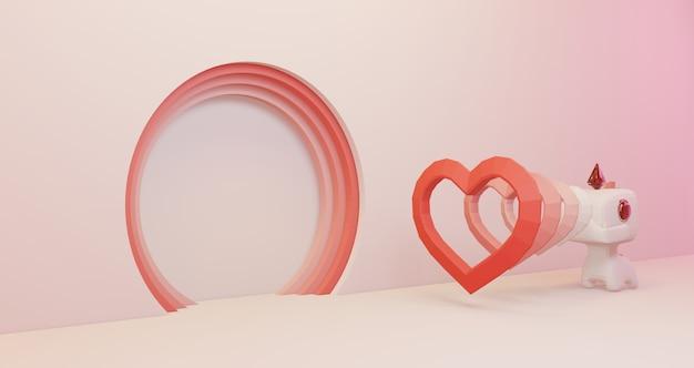 バレンタインの3 dレンダリング。穴ピンクの背景にかわいいユニコーンから浮かぶ多くの心