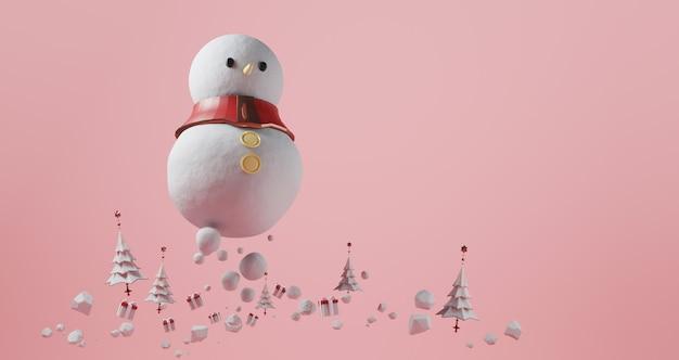 クリスマスの3 dレンダリング。ピンクの背景に浮かぶ巨大な雪だるま。クリスマスツリーとギフトボックス、抽象的な最小限の概念、豪華なミニマリストに囲まれて