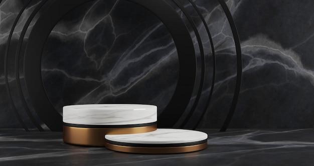 黒大理石の背景、金の指輪、抽象的な最小限の概念、空白スペース、豪華なミニマリストに分離された白い大理石と黄金の台座の3 dレンダリング
