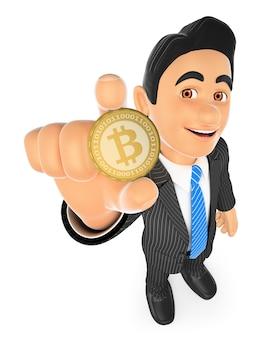 ビットコインを示す3 dの実業家