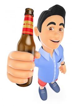 ビールのボトルとショートパンツの3 d若い男