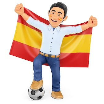 スペインの旗を持つ3 dサッカーファン